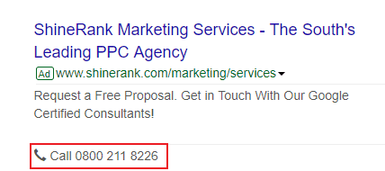 Phone calls from google ads