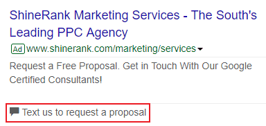 text enquiries from google ads