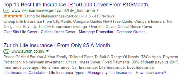 google ads for life insurance
